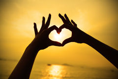Silhouette Hand Heart Shape Sunset 37378815